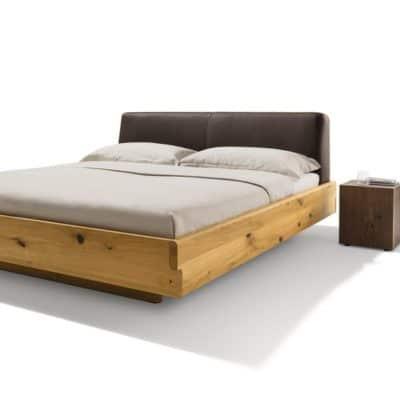 Nox Bett mit Lederkopfhaupt Farbe dunkelbraun in Eiche wild.